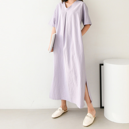 Linen V-Neck Long Dress