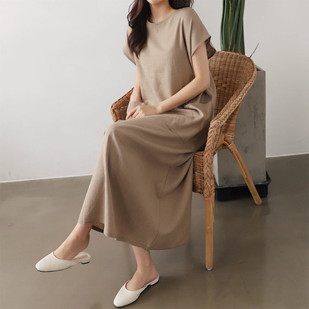 Linen Pocket Long Dress