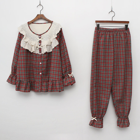 Frill Check Pajama Set