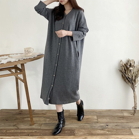 Cashmere N Wool Collar Knit Long Dress N Cardigan