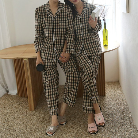 Brown Check Pajama Set - 커플룩