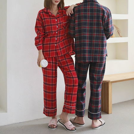Gimo Merry Check Pajama Set - 커플룩