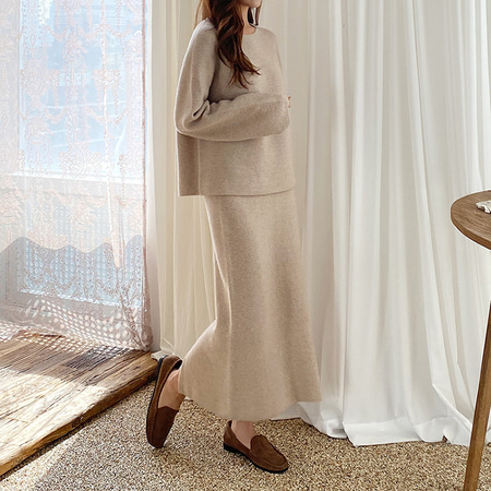 [Set] Maille Wool N Cashmere Sweater + Long Skirt