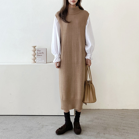 Wool Turtleneck Knit Long Dress